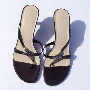 Aldo Black Leather Mid Heel 38 Thong Sandals 7.5